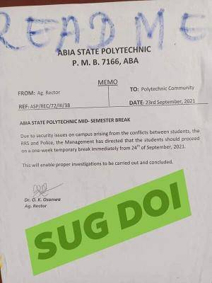 Abia State Poly notice on mid-semester break