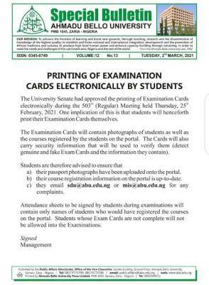 ABU notice to students on electronic printing of exam cards