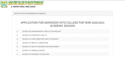 Lagos State College of Health Technology admission form for 2020/2021 session