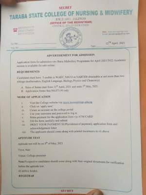 Taraba State College of Nursing and Midwifery, 2021/2022 admission form
