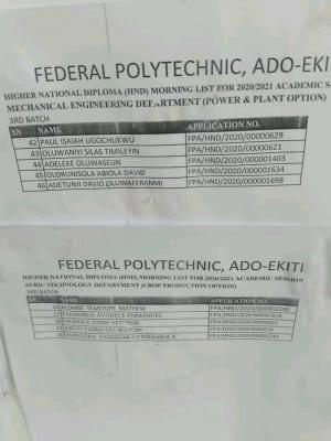 Fed Poly Ado-Ekiti HND (3rd batch) admission list, 2020/2021 out