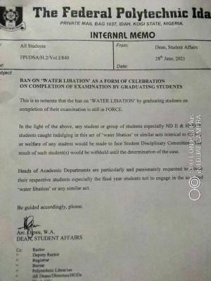 Fed Poly, Idah reiterates ban on