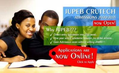 CRUTECH JUPEB admission form for 2020/2021 session