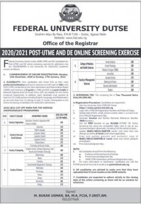 FUDutse Post-UTME 2020: Cut-off mark, eligibility and Registration Details