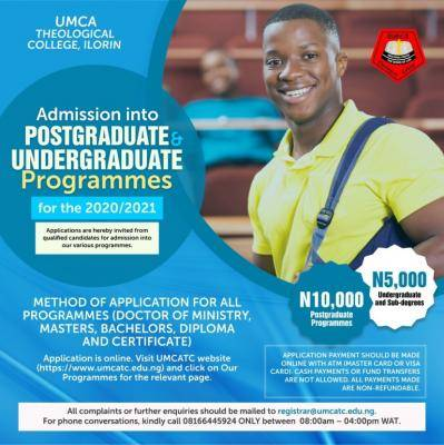 UMCA Theological College, Ilorin admission for 2020/2021 session