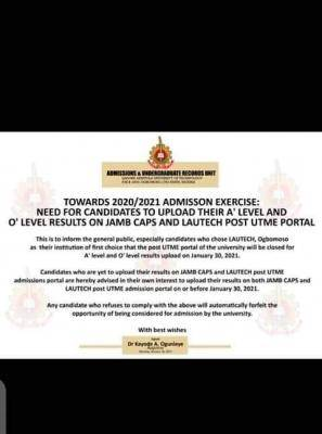 LAUTECH notice to 2020 Post-UTME candidates on deadline for uploading of O'level results