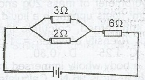 In the diagram given, the current passing through the 6Ω resistor is 1.5A. Calculate the terminal p.d. of the battery in the diagram
