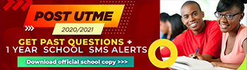 Post-UTME Past Questions 2020/2021 - Get official school copy + 1 year school SMS alerts